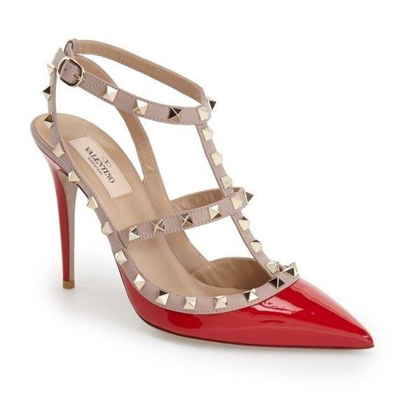 Women's Valentino Garavani Rockstud T-Strap Pump (£740) ❤ liked on Polyvore featuring shoes, pumps, red patent, patent leather pointy toe pumps, pointy-toe pumps, patent leather pumps, red patent shoes and t-strap pumps