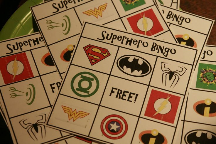 superhero bingo - m&m's for prize! Expand for a Relay Activity??? Make a Survivor Square....committee member ect