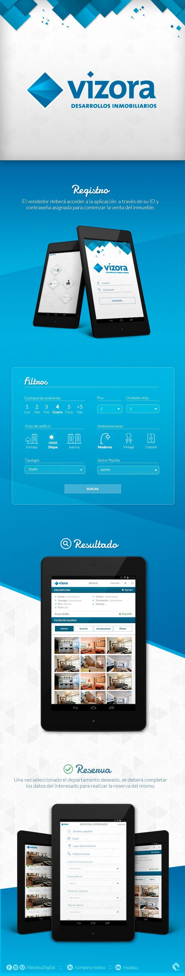 Aplicación desarrollada para la venta de departamentos en Buenos Aires, Argentina.  Behance: https://www.behance.net/gallery/20135829/Project-Vizora