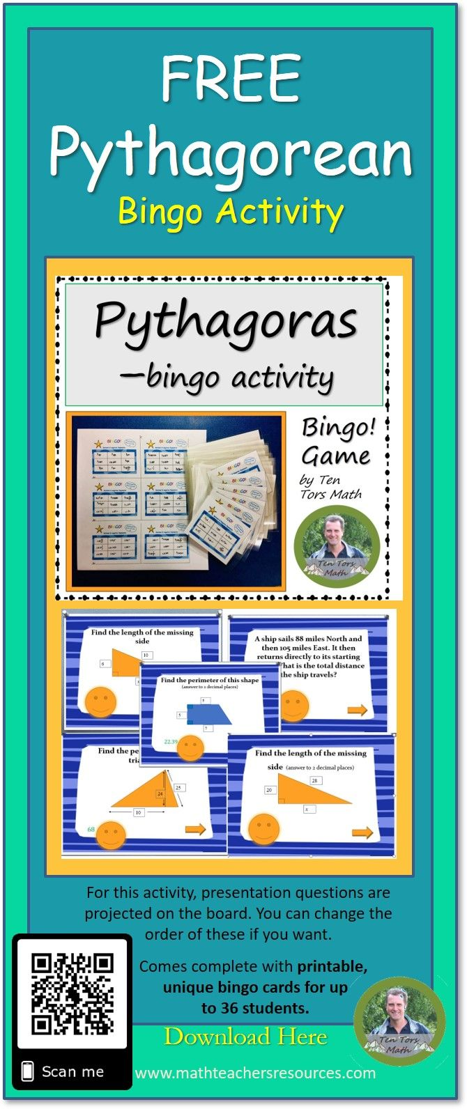 A free low prep bingo game where students use Pythagoras
