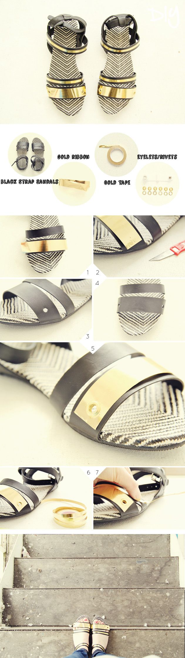Go go gold strap sandals tutorial Fall For DIY
