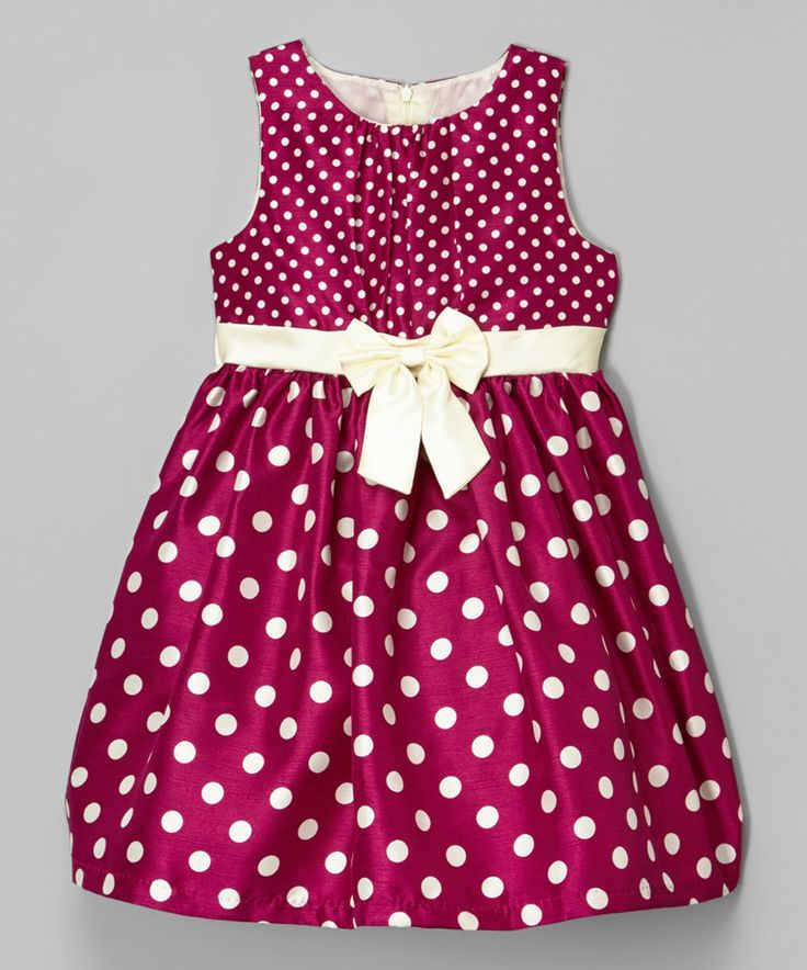 Wine Polka Dot Shantung Dress - Kids & Tween by Mia Juliana #zulily #zulilyfinds