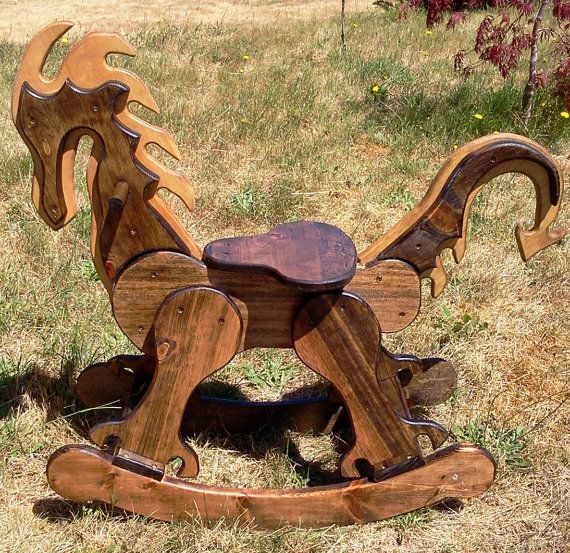 Unique Handcrafted Wood Rocking Dragon and other by RockinCritters