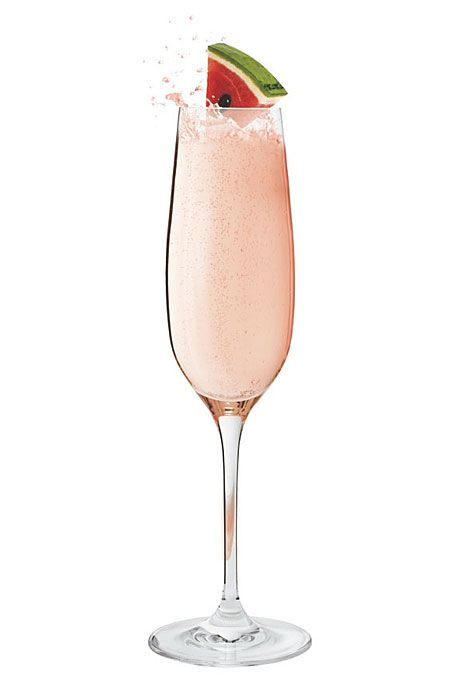 Brides.com: . Melón Mellini. 1 part Bacardi Melón Mellini  3 parts Martini & Rossi Asti  Splash of grenadine   Pour all ingredients into a chilled Champagne flute. Garnish with fresh watermelon slices.