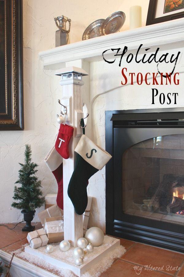 Diy Holiday Stocking Post Christmas Wood Christmas Decor Diy