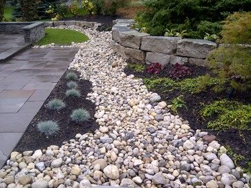 stone patio armour and river