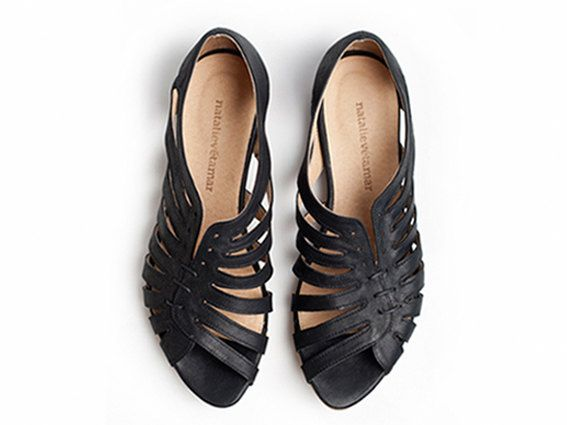 these are delightful!!     Gilly black flat sandals by TamarShalem on Etsy