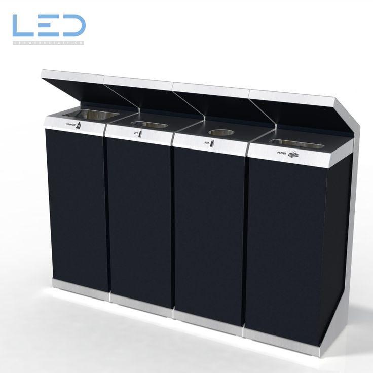Q-Bin Recyclingstation, Wertstoffbehälter, Abfallbehälter, Innen und Aussen