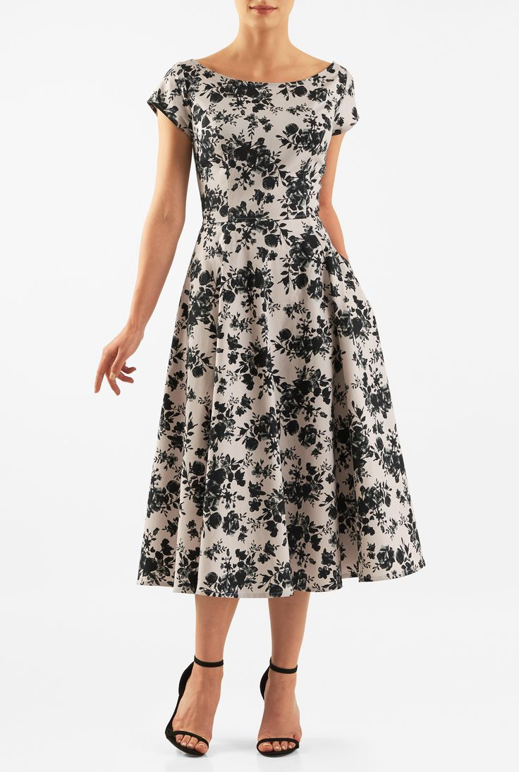 Our fit-and-flare dress is cut from stretchy cotton sateen in a mesmerizing floral print and accented with cap sleeves and a wide boat neck.