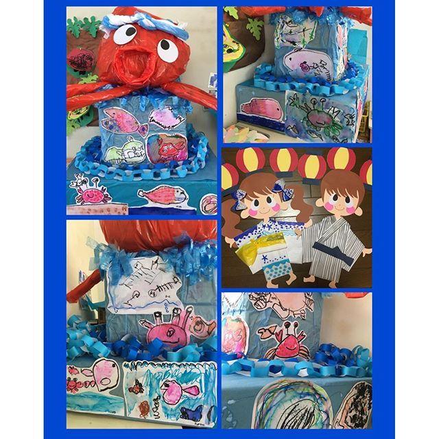 【wata7be__3yuri】さんのInstagramをピンしています。 《#おみこし#夏祭り#タコ#海#浴衣#切り絵#製作#followme #幼稚園 クラスでおみこしを作りました。 海の生き物をテーマにクレヨン、マーカーで子どもたちにお絵描きしてもらいました(*^^*) 女の子は私のお手本を見て、カニ、魚 を真似る子が多いですが、 男の子は発想が豊かで、ワニ、魚釣り、貝、深海魚などユニークな作品ができました(*^^*)》