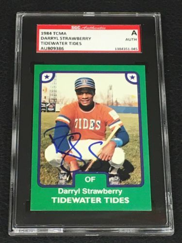 DARRYL STRAWBERRY 1984 TCMA TIDEWATER TIDES SIGNED AUTOGRAPH CARD SGC AUTHENTIC