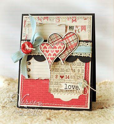 card: Bingo Cards, Cards Ideas, Valentines Day Ideas, Valentine'S S, Paper Design, Vintage Valentines Day Cards, Valentines Cards, Pickled Paper, Heart Cards