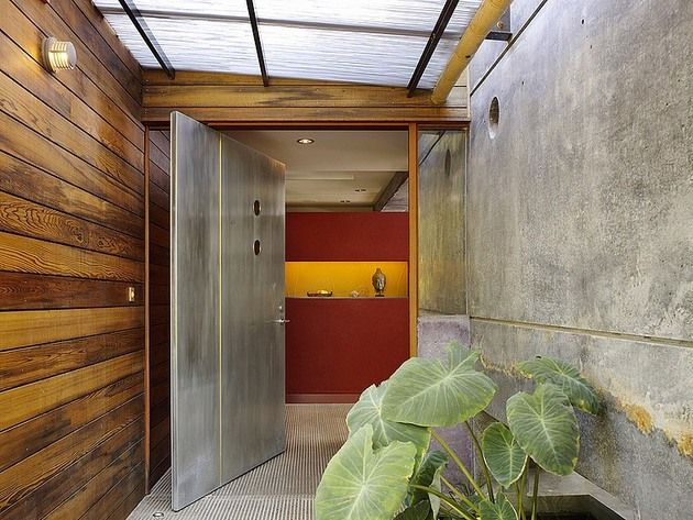 hybrid-wood-and-concrete-home Bamboo gutter