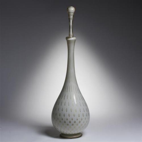 Large-Alfredo-Barbini-039-lattimo-039-and-039-foglia-d-039-oro-039-art-glass-decanter-Lot-166