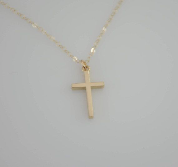 14K Gold Cross Necklace. 14K solid gold cross necklace. 14K gold cross pendant.  First Communion gift.
