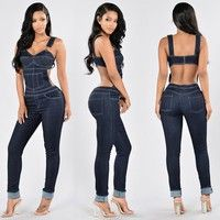 Wish | Sexy Jeans Sleeveless Backless Womens Jumpsuit 0veralls Spaghetti Strap Bodysuit Pants Casual Denim Women Slim Jeans Rompers