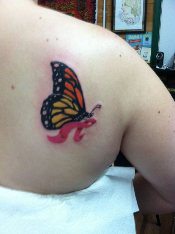 My monarch butterfly with pink breast cancer ribbon tattoo for Butterfly breast tattoos