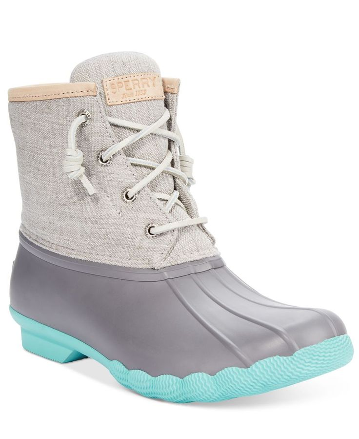 Let this waterproof style take you where others can't go. The Salt Water duck booties by Sperry Top-Sider feature a warm micro-fleece lining inside and contrasting rawhide laces up top. | Imported | R