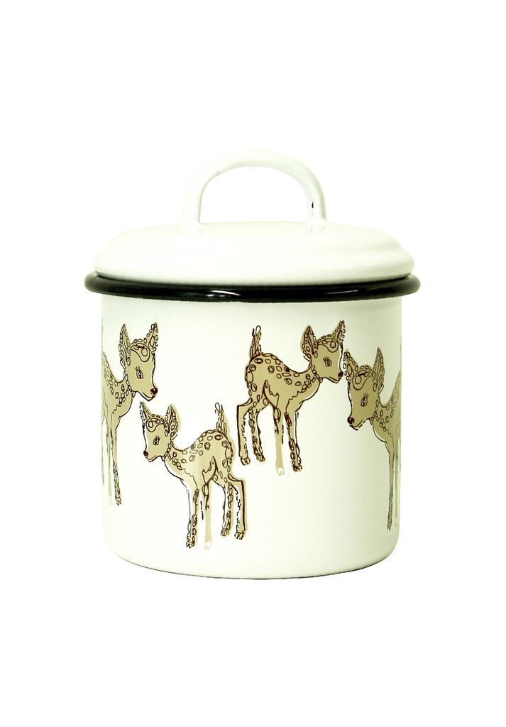 Ivana Helsinki - Bambi enamel jar. This Bambi printed Enamel jar is a adorable and perfect for keeping cookies, sweets or treasures in them!
