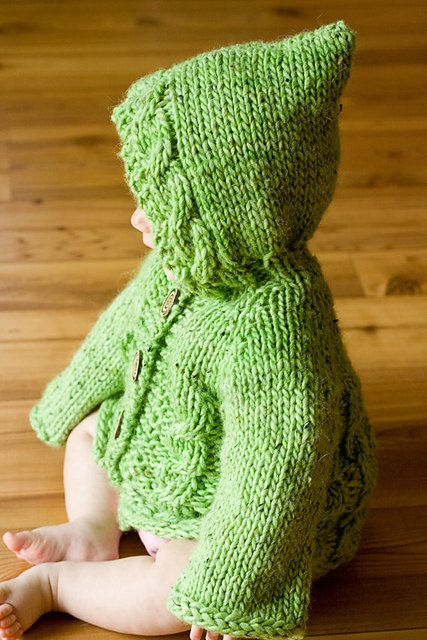 $6 Hooded Baby Sweater With Cables pattern #knitting #pattern #sweater #hoodie #baby