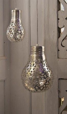 Spray paint a doily onto a light bulb or use a silver penand drawyour own designs. When the light shines through, it will cast a beau...