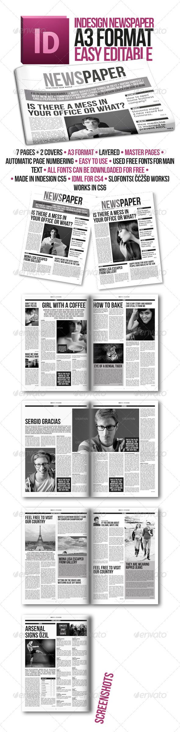 Indesign Modern Newspaper Magazine Template A3 #GraphicRiver ABOUT This is A3 version of highly rated newspaper that was also made in a4 version one year ago. A lot of people asked for a3 version, so here it is. Modern look newspaper includes 8 pages in A3 format. The file is easy to customize. You have few different layouts with which you can create whole newspaper. Layout is made of 4 columns. You can simply make your newspaper and print it on your home printer. You can simply use your…