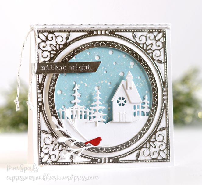 Christmas Village Scene Metal Cutting Die Church Sleigh House Crafts Card Making