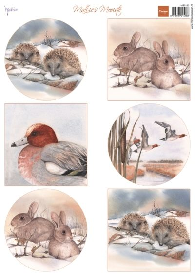 Mb0163 Mattie's winter animals - Hegde h - Mattie de Bruine A4 - Marianne Design Knipvellen - Hobbynu.nl