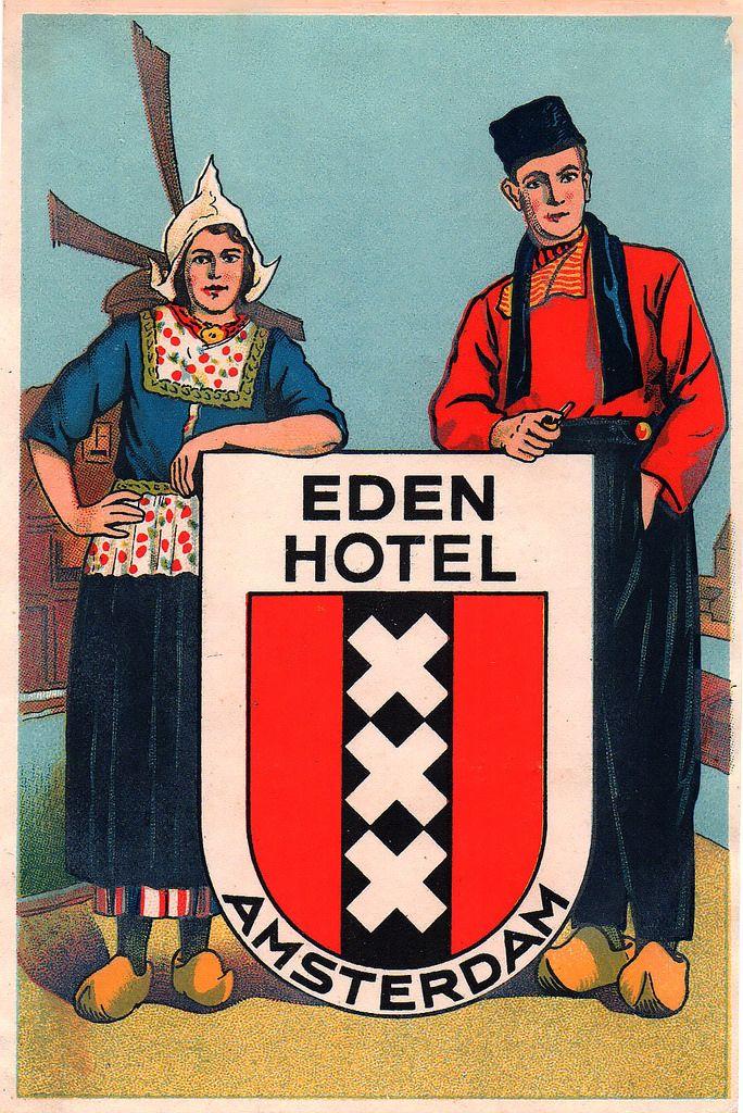 Luggage label eden hotel amsterdam