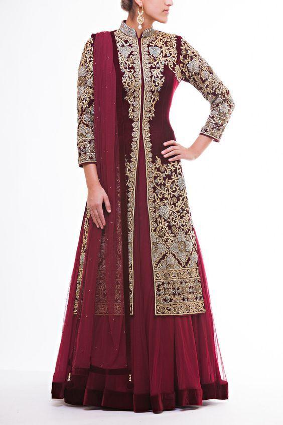 Fully Embroidered Velvet Jacket paired with soft Net Lehenga with Velvet Border paired with Maroon Net Dupatta: