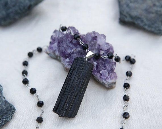 Tourmaline Choker with Jet Black Rosary Chain by SlothAndCo