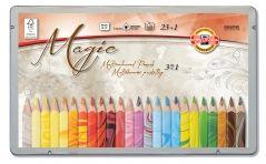 Koh-I-Noor Hardthmuth - Scoala - Creioane Colorate - <b>MULTICOLORE</b> - SET 23 Creioane TRIUNGHIULARE cu Mina Multicolora + blender