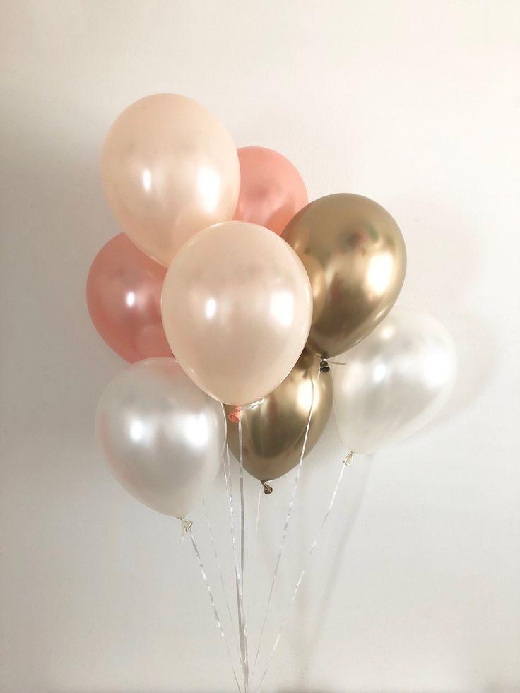 Rose Gold, Pearl Peach, Pearl White, Chrome Gold Balloon Bouquet