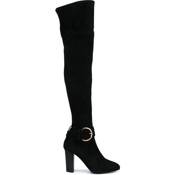 Giuseppe Zanotti Design buckle detail over-knee boots (£640) ❤ liked on Polyvore featuring shoes, boots, black, black buckle boots, black thigh-high boots, thigh high leather boots, black high heel boots and black over the knee high heel boots