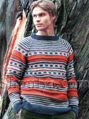 Мужской пуловер в полоску, вязаный спицами