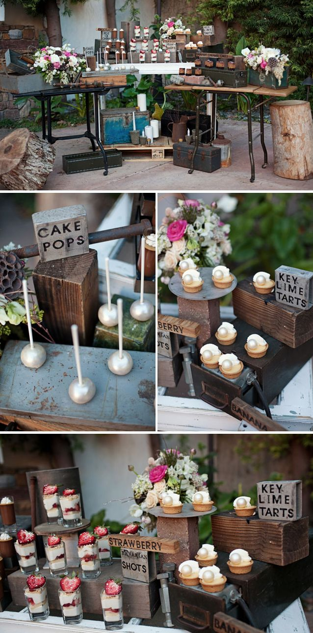 love the industrial dessert station with vintage tool boxes, wood, tools, etc.