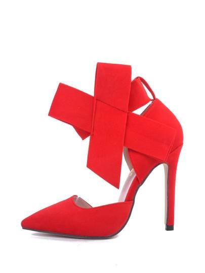820c234c7457 Red Bow Decor Pointed Toe Stiletto Heels