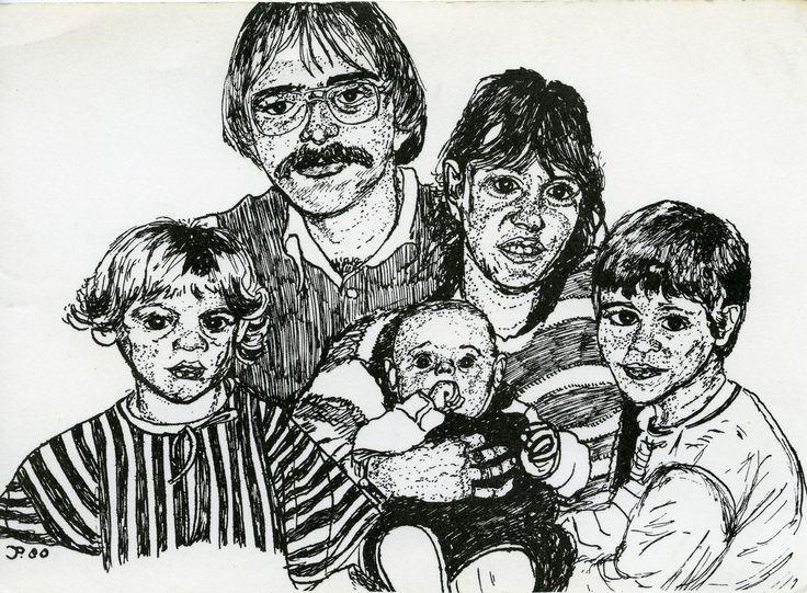Familie J. Poppelaars- Smeets uit Middelrode wenst u prettige feestdagen en een voorspoedig 1981 toe; pentekening.