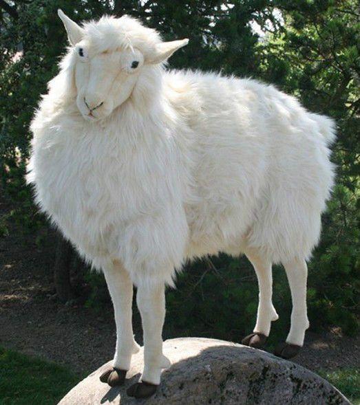 Hansa Plush Life Size Sheep Gentle Ewe White 3660