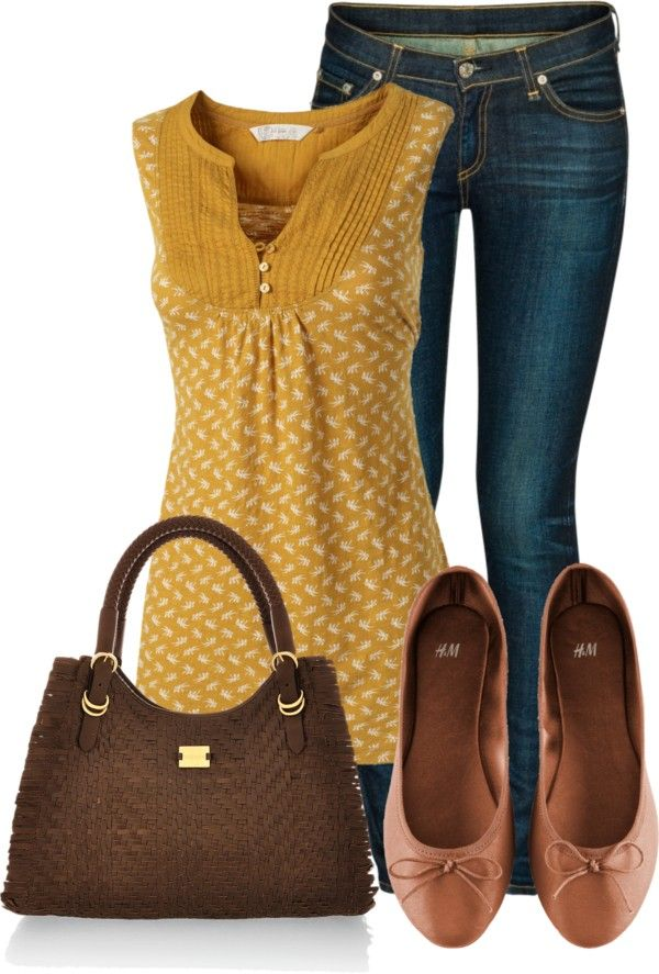 """{""""Yellow Tunic"""" by wherecoconutgrows on Polyvore} i've been looking for a mustard shirt/sweater!!"""