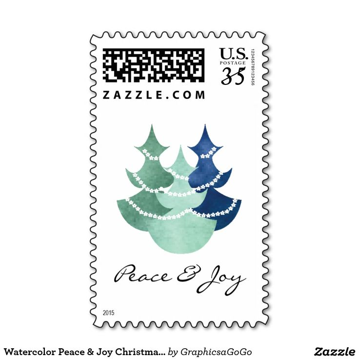 Watercolor Peace & Joy Christmas Tree Stamps