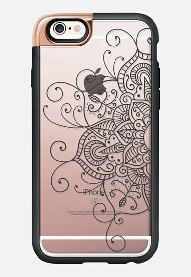 Casetify iPhone 7 Case and Other iPhone Covers - Swirly Mandala - Black Transparent iPhone 6s Case by Ruby Ridge Studios | #Casetify