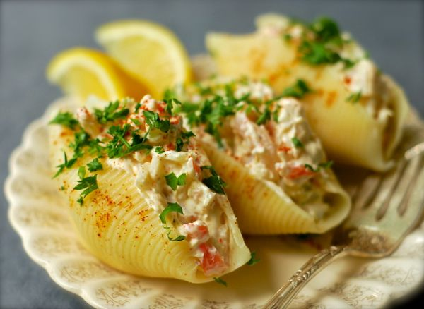 Seafood Salad in Large Pasta Shells...a must-have for the beach wedding reception buffet!