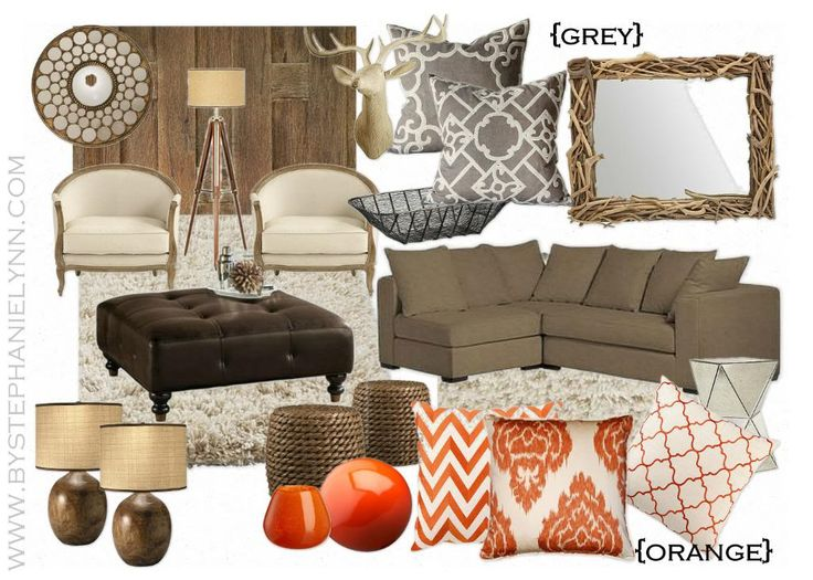 The Good Mood Board. Could change out orange as season/mood changes with such a nice neutral background.