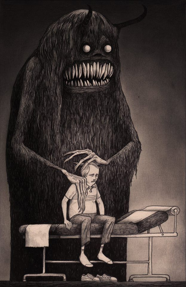 this could be a nightmare/depression… or it could be sammy the friendly monster who is there for his dear friend. :P