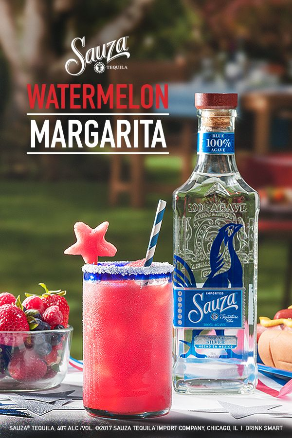 If your Fourth of July fun is celebrating the red, white, and Blue Silver, let freedom ring.    Watermelon Margarita:  1 part Sauza® Signature Blue Silver Tequila 1 part fresh watermelon juice  1⁄2 part lime juice  1⁄2 part simple syrup  1⁄2 part DeKuyper® Triple Sec  Directions: Rim the glass with a lime then salt. Add ingredients to an ice-filled shaker. Shake and strain over ice into a salt-rimmed cocktail or margarita glass. Garnish with a watermelon star cut-out.