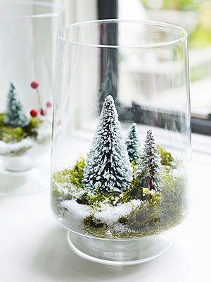 DIY Miniature Winter Wonderland in vase {so cute}