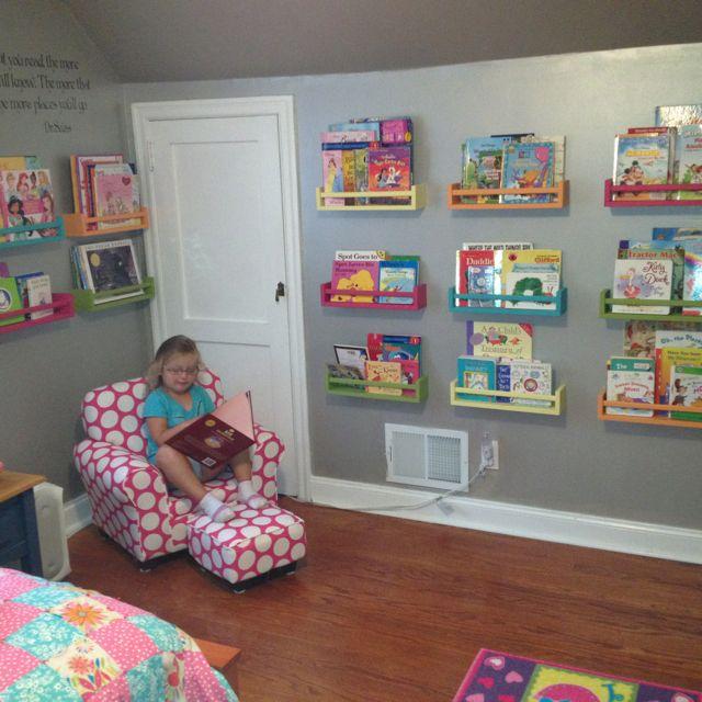 Ikea Bekvam spice racks used as kids bookshelves!