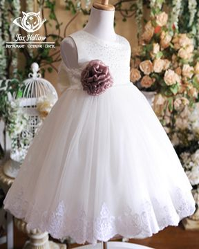 #Fancy #ChristeningDress with flower embellishment makes for a beautiful addition