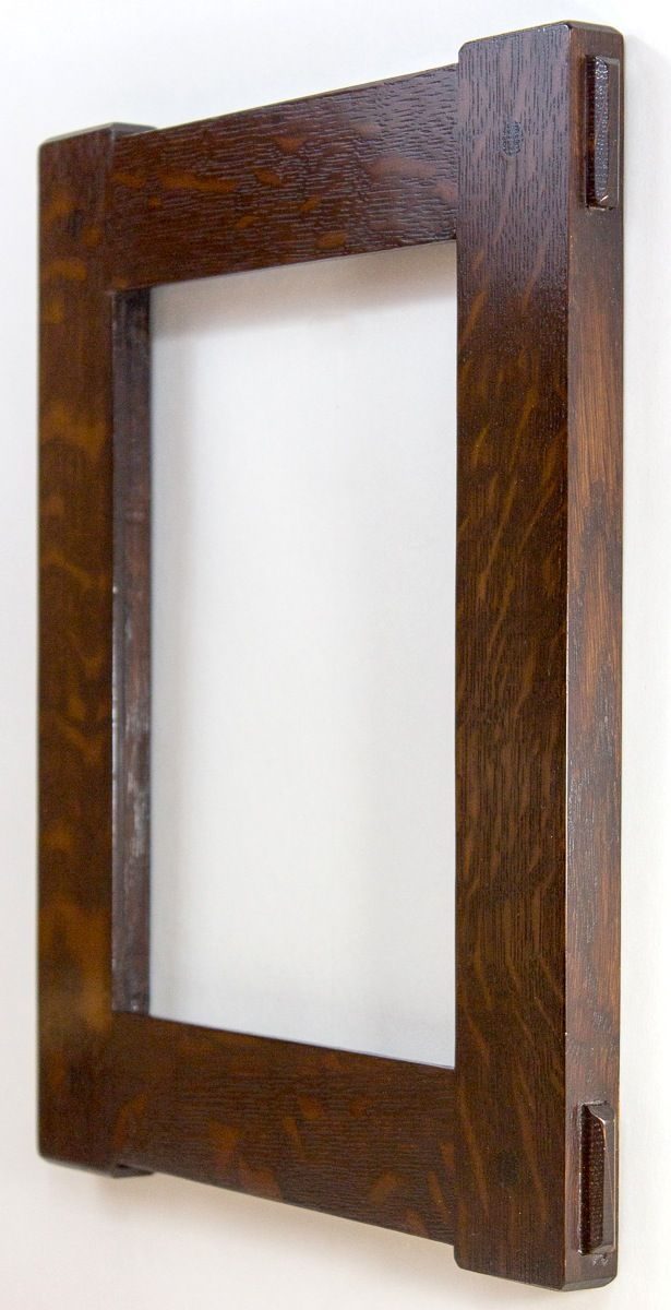 Side view of the Arts and Crafts 8 x 10 through mortise and tenon picture frame in quarter sawn white oak.